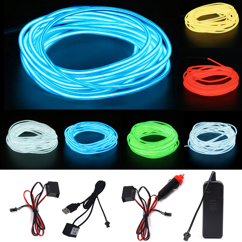 2.3mm EL Wire Flexible Neon Light Glow Rope Light Strip 1m/3m/5m Shoes Clothing Stage Car Decoration Waterproof Led Strip Lamp