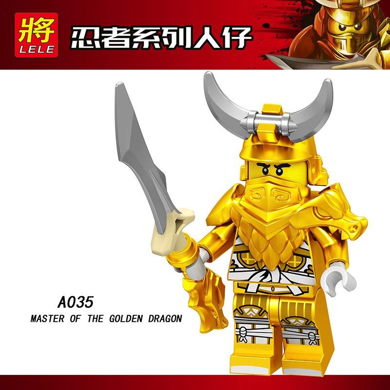 Single Sale LegoINGlys Ninja LLOYD MASTER OF THE GOLDEN DRAGON CHEW TOY WU(TEEN) Bricks Building Blocks Collection Toy Gift A035