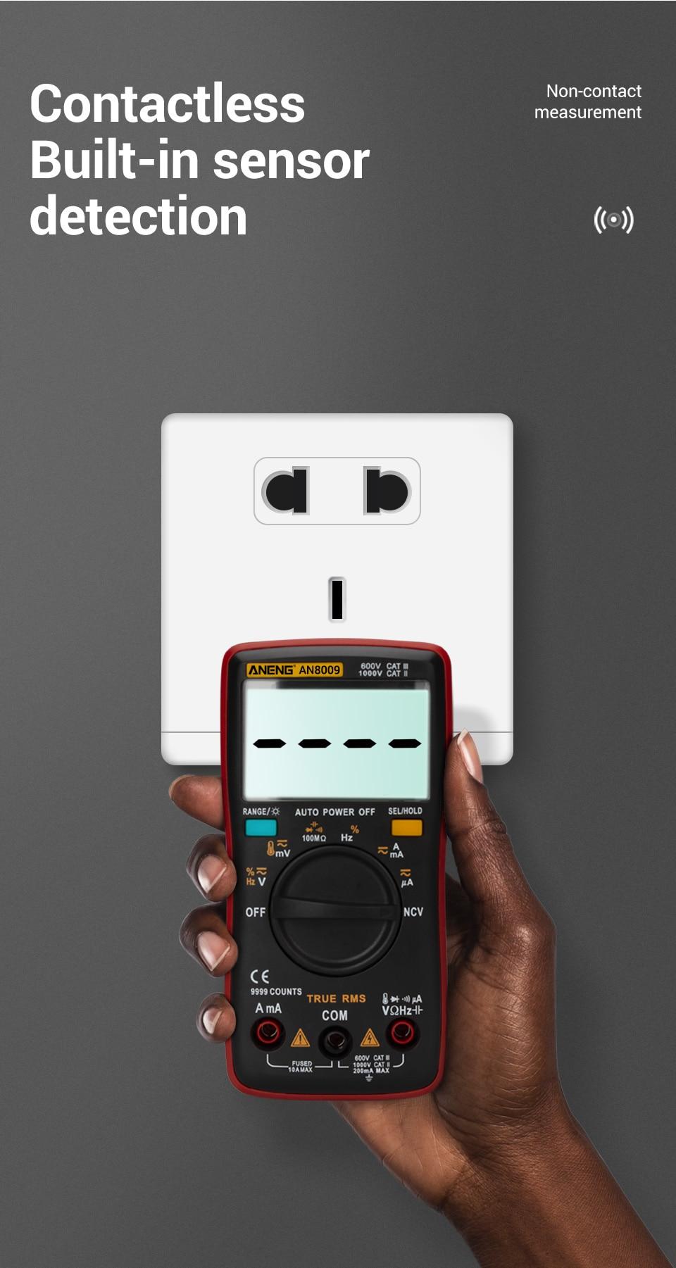 H3e7eece6f831483784819e34091f0c2eO ANENG AN8009 True-RMS Digital Multimeter transistor tester capacitor tester automotive electrical capacitance meter temp diode