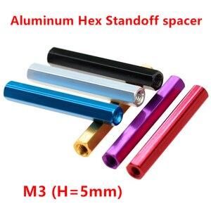 10pcs M3 H=5mm Aluminum stando