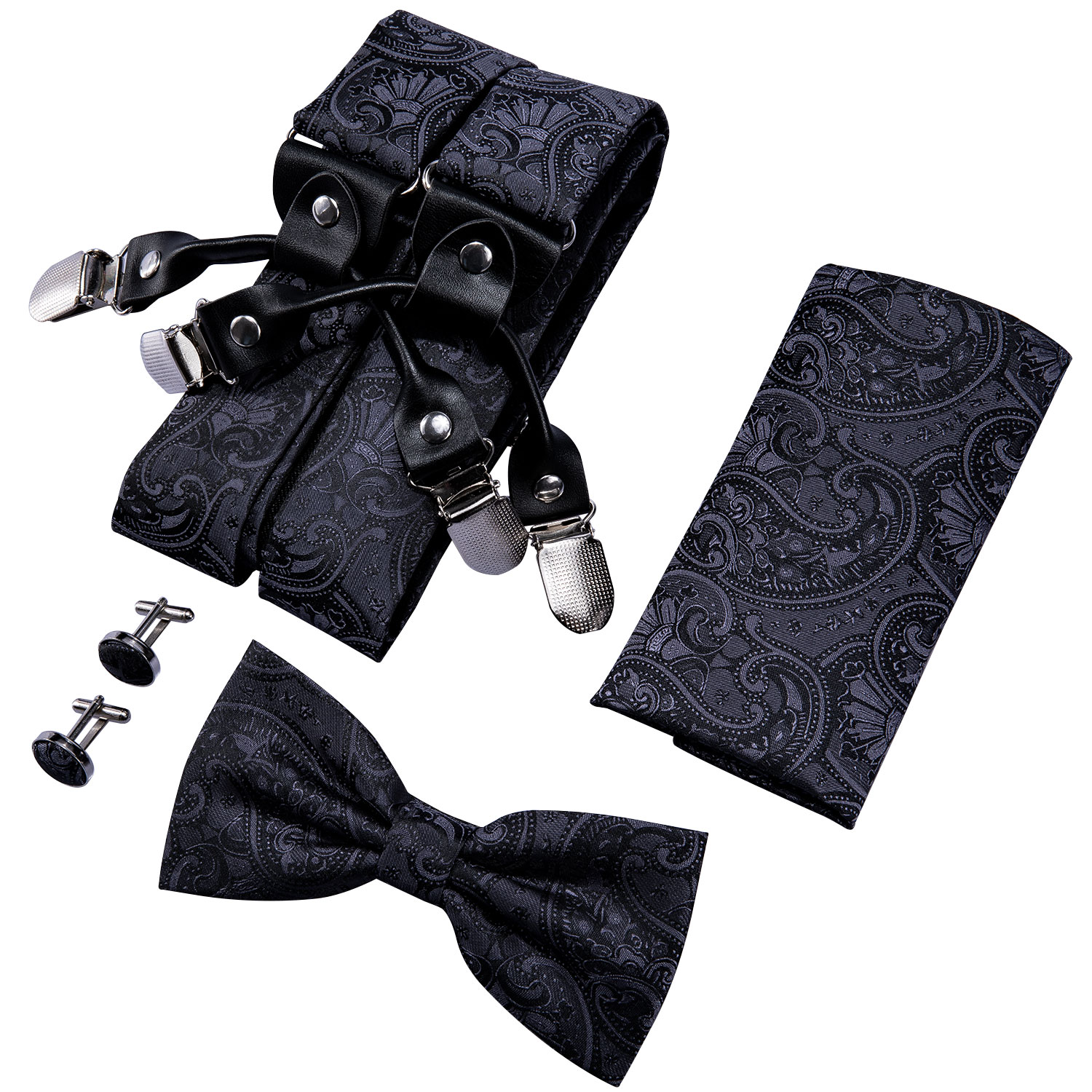 Black Paisley For Men Suspenders Shirt Bow Tie Hanky Set Woven Y-Back Silk Suspender No-slip Silver Clips Barry.WangBB-2005