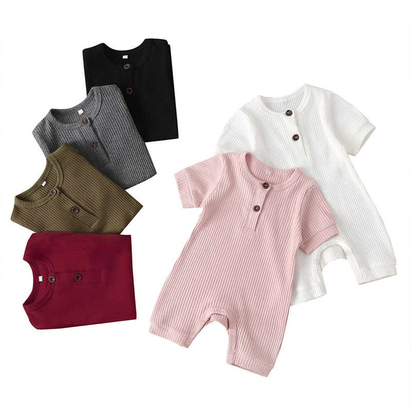 Newborn Baby Boys Girls Knitting Black Pink Wine Red White Short Sleeve Solid Ribbed Romper Jumpsuits Overalls Clothes Outfits