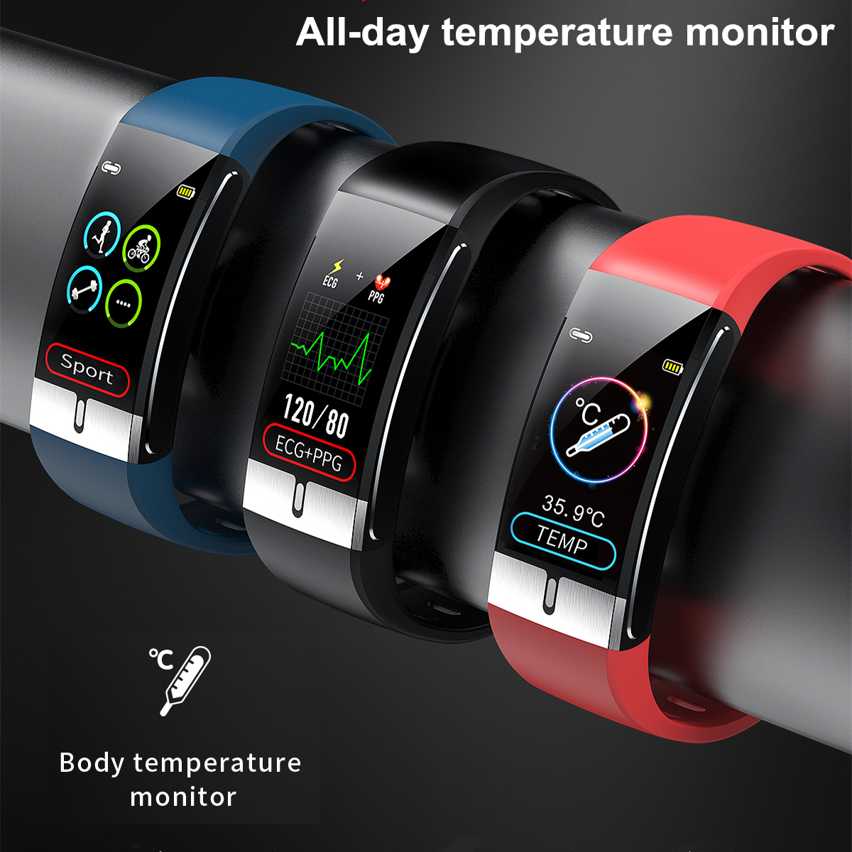 Body Temperature Monitor Smart Band ECG PPG Wristband Heart Rate Smart Watch Blood Pressure Measurement Sport Fitness Bracelet