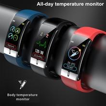 مراقبة درجة حرارة الجسم الذكية الفرقة ECG PPG معصمه معدل ضربات القلب ساعة ذكية قياس ضغط الدم الرياضة سوار لياقة بدنية