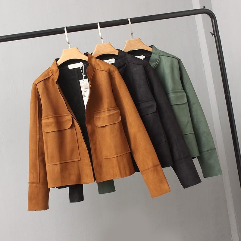 Женская куртка, весенне осенняя короткая куртка из оленьей кожи, куртка кардиган с воротником стойкой и карманами, женская модная верхняя одежда большого размера Куртки      АлиЭкспресс