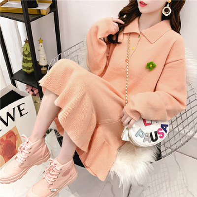 New Autumn And Winter Maternity Fashion Pregnant Dress Loose Casual Maternity Dress Wild Long Sweater Sweater Maternity Dress
