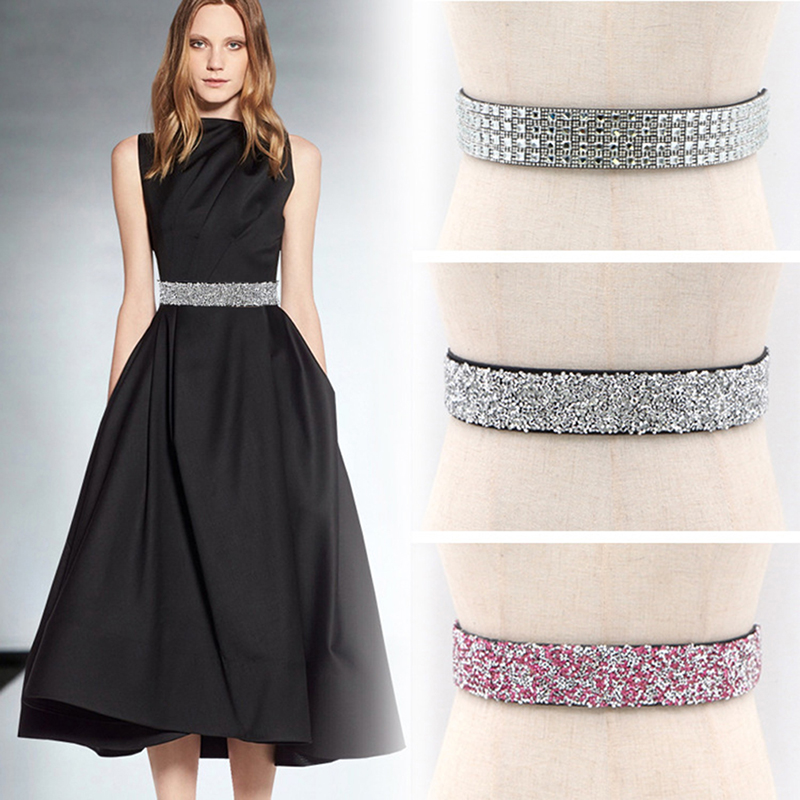Women Fashion Waist Belt Crystal Sash Cummerbund Elegant Lady Waistband Party Dress Accessories Glitter Rhinestone Polyester