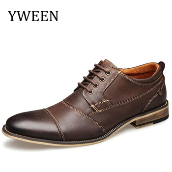 цены YWEEN Wholesale Men Formal Shoes Quality Oxfords Men Dress Shoes Business Formal Shoes Men Flats Plus Size Wedding Party Shoes