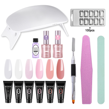 MIZHSE Poly Gel Kit 6W UV LED Lamp Gel Varnish Nail Polish Art Kit Quick Building For Finger Nails Extensions Jelly Gel Polygel 1
