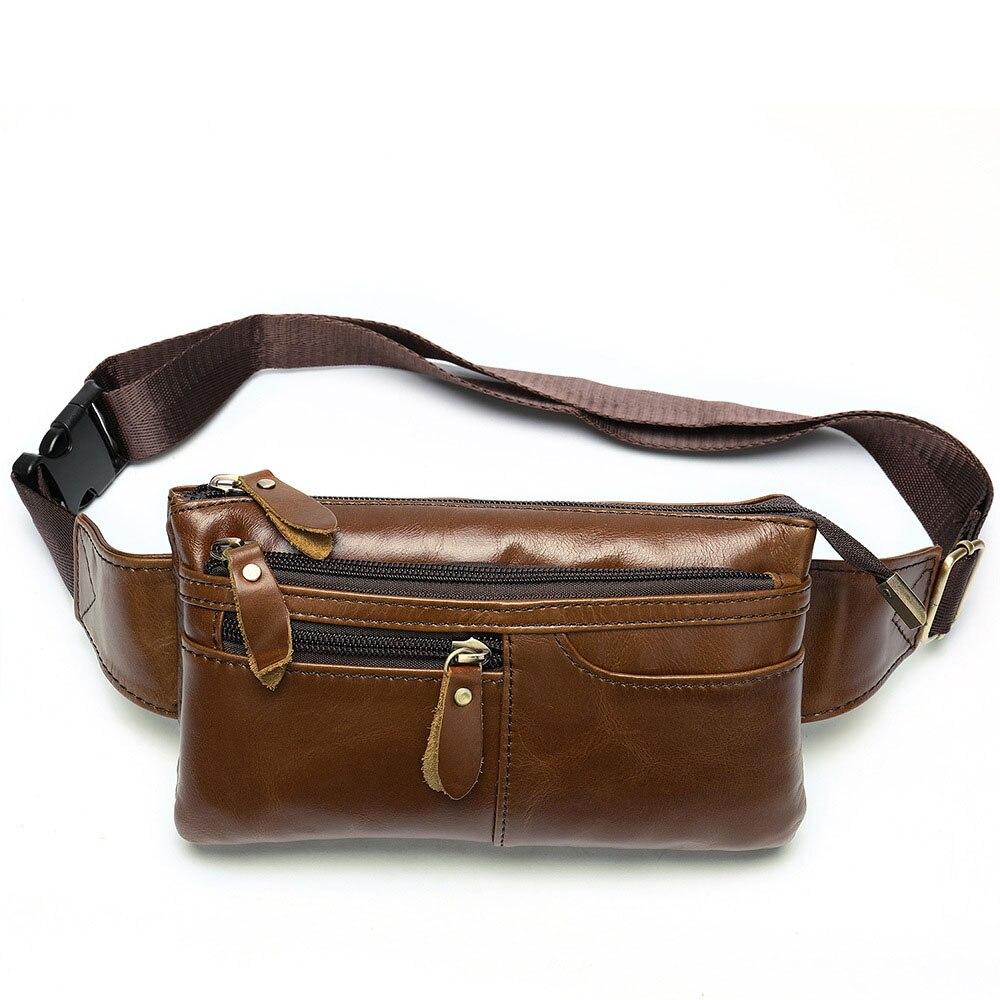Leather MEN'S Bag Full-grain Leather Men's Running Bag Retro Large Men's Shoulder Shoulder Bag Chest Pack