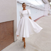 2021 Short Puff Sleeves Satin Wedding Dresses Chic White Ivory O Neck Simple Plain Bride Gowns A Line Bridal Dress Plus Size