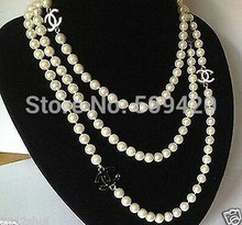 Gratis verzending> charmant 8mm ronde witte shell pearl charm ketting 68 inch(China)