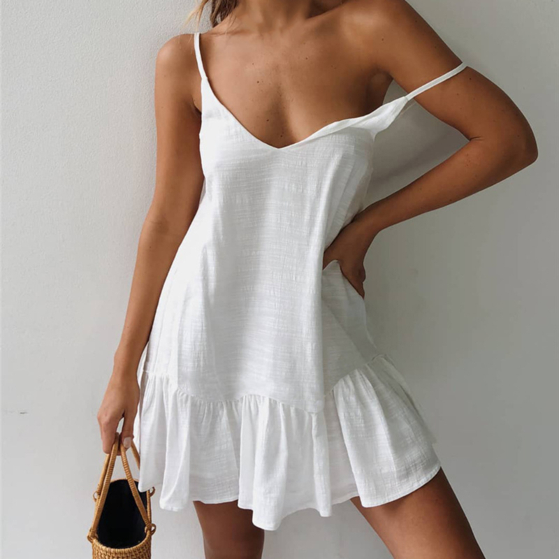 <font><b>Mini</b></font> Summer <font><b>Dress</b></font> <font><b>Strap</b></font> Off Shoulder Yellow White Ruffle Plus Size Loose <font><b>Casual</b></font> Linen Sundress <font><b>Sexy</b></font> Beach <font><b>Dress</b></font> Women image