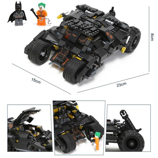 325 Uds Super Héroes Batman Kits de construcción modelo de coche bloques clásicos compatibles Playmobil juguetes Set niño educación regalo de cumpleaños