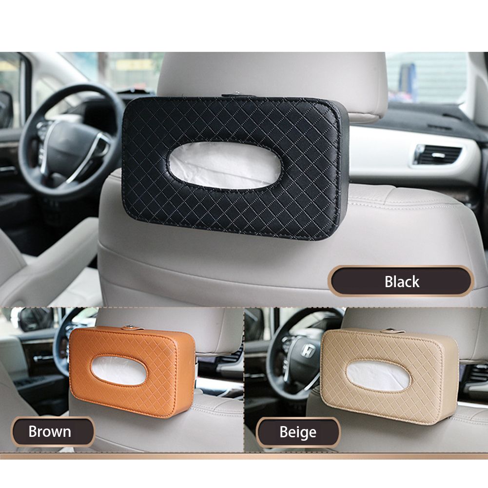 Universal Car Tissue Box Waterproof PU Leather Napkin Holder Box Back Seat Sun Visor Tissue Organizer for Auto Home Decor