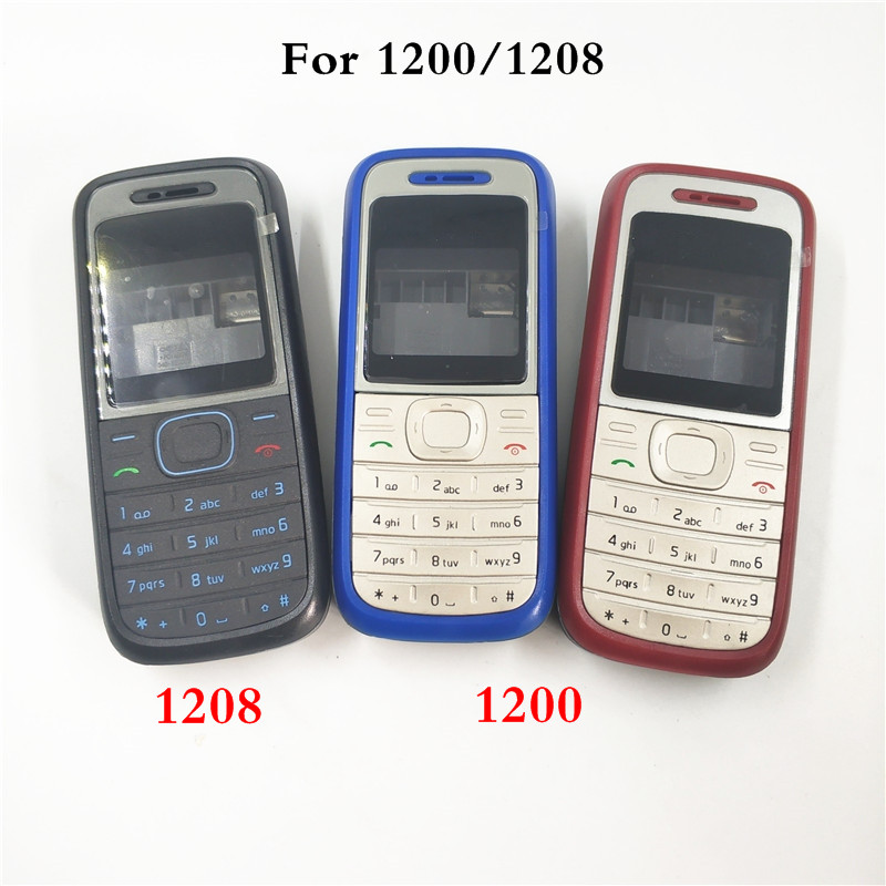 New High Quality Cover For <font><b>Nokia</b></font> <font><b>1200</b></font> 1208 Full Complete Mobile Phone <font><b>Housing</b></font> Cover Case English Keypad image