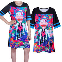 Harajuku style T-shirt Rick and Morty Lady bear print long T-shirt casual short-sleeved top Feminina Blusa Carnival Halloween(China)
