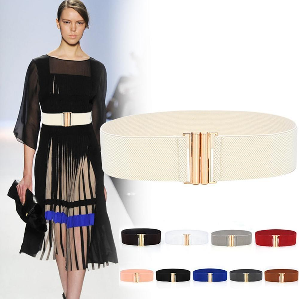 1pc Solid Color Fashion Lady Wide Belts Women Wide Elastic Belt Buckle Waist Dress Stretch Cinch