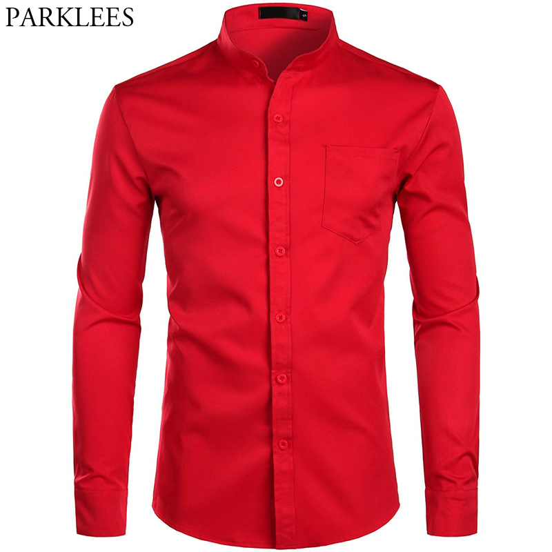 Red Banded Grandad Collar Dress Shirts Men 2019 Brand New Mens Slim Fit Long Sleeve Button Down Shirt With Pocket Chemise Homme