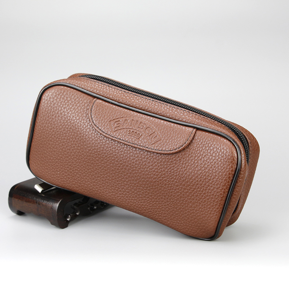 High Capacity Smoking Bag Brown Leather Bag <font><b>Tobacco</b></font> Pipe Bag for 2 pipes Litchi Pattern Smoking <font><b>Case</b></font> with Indepent <font><b>Tobacco</b></font> Pouch image
