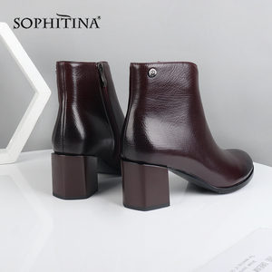 Image 4 - SOPHITINA Fashion Special Design New Boots High Quality Genuine Leather Comfortable Square Heel Womens Shoes Ankle Boots PC374