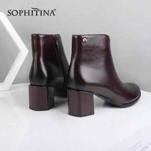 Image 4 - Sophitina Fashion Speciale Ontwerp Nieuwe Laarzen Hoge Kwaliteit Echt Leder Comfortabele Vierkante Hak Vrouwen Schoenen Enkellaarsjes PC374