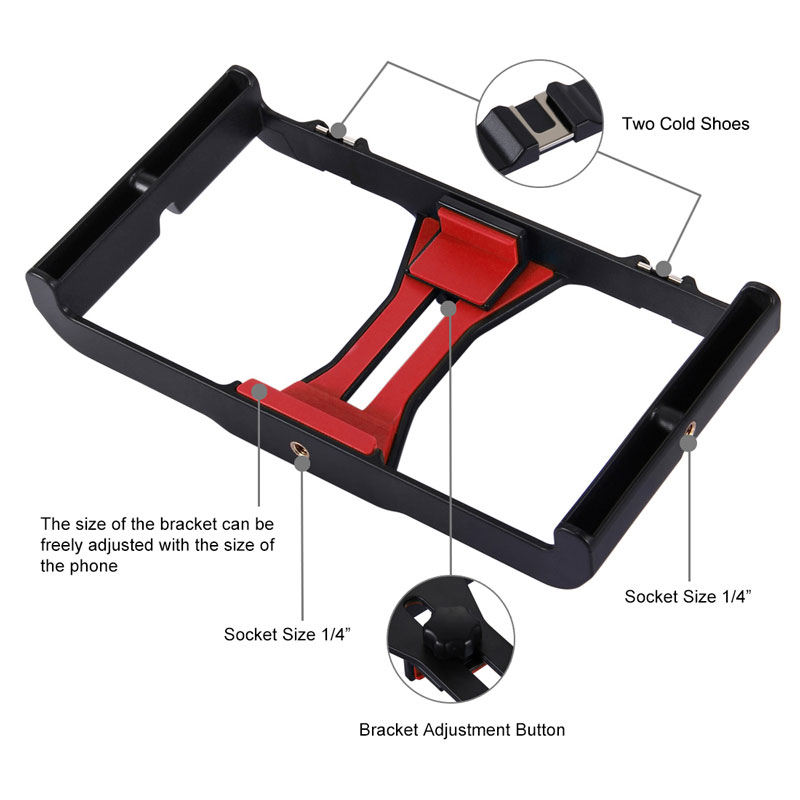 Image 4 - Mobile Phone Holder Tripod For Microphone Vlogging Rig Mount LED  Ring Lighting Bracket Stand Phone Photography AccessoriesPhone Holders