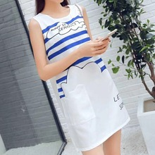 Sleeveless Dress Womens Fashion Cute Striped Print Letter Pattern Round Neck Slim Casual Ladies Summer White