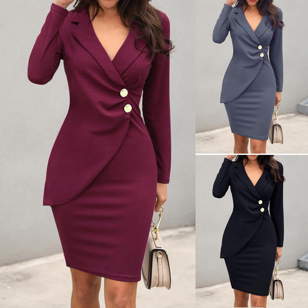 Autumn Dress Women Office Lady Sexy Solid Turn Down Neck Long Sleeve Buttons Bodycon Work Formal Dress