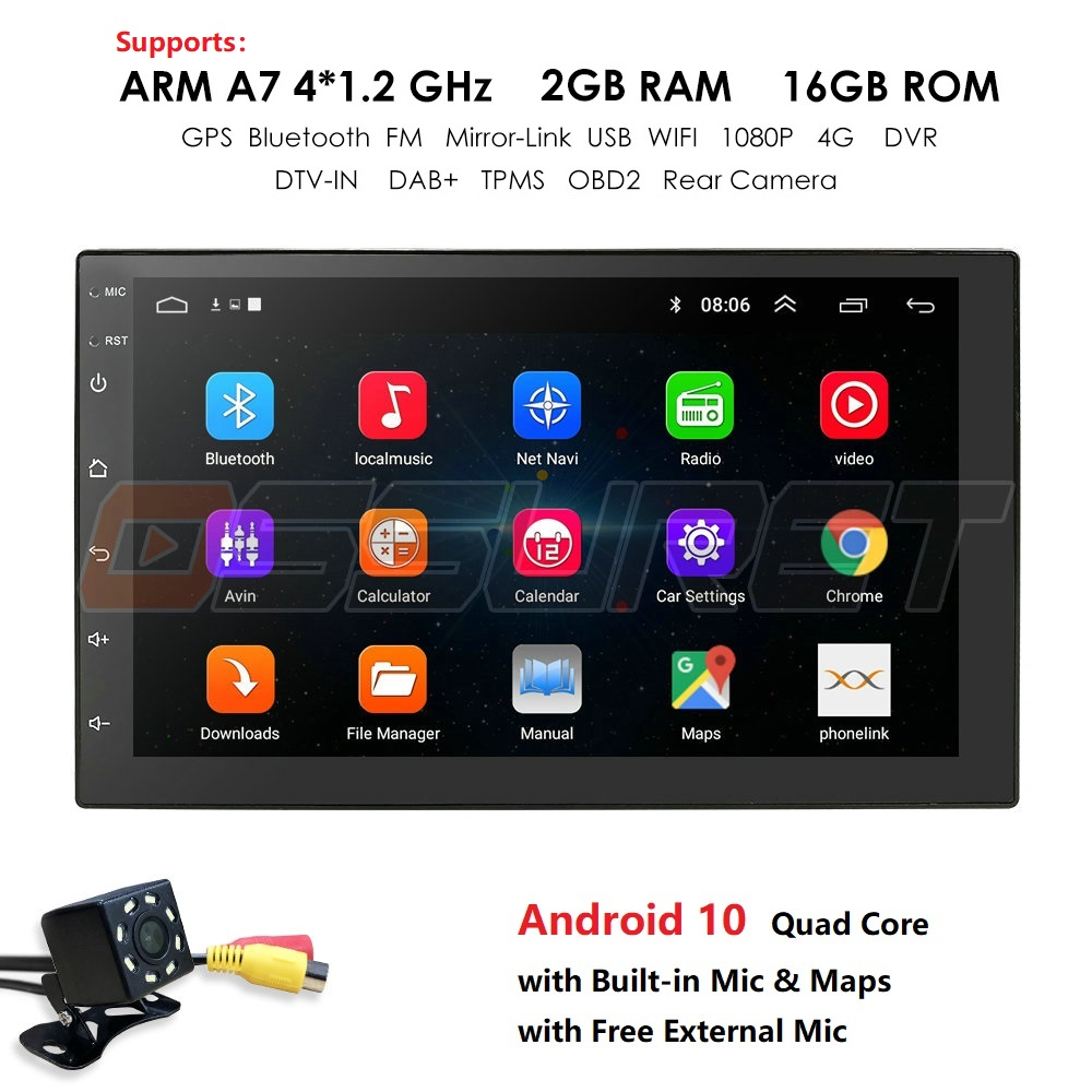 7 INCH Android 9.0 GPS Navigation Autoradio Multimedia NO DVD Player Bluetooth WIFI MirrorLink OBD2 Universal 2Din Car Radio Mic image