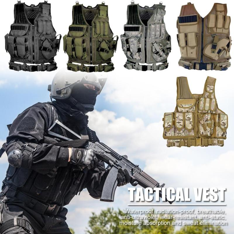 Men Military Tactical Vest Paintball Waterproof Molle Hunting Vest Assault Shooting Hunting Plate Carrier With Holster