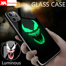 Marvel Deadpool Venom Villain Super Hero Luminous Glass Case For iphone 11 Pro XS MAX XR X 7 8 6 6S Plus Avengers Phone Cases