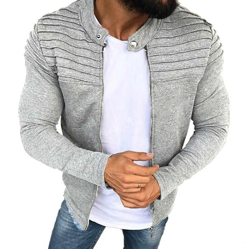 Sports Casual Men Jacket Men's Autumn Pleats Slim Stripe Fit Jacket Zipper Long Sleeve Coat Cardigan Coat