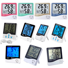 Digital Hygrometer Thermometer LCD Electronic Outdoor Indoor Room Temperature Humidity Monitor Alarm Clock(China)
