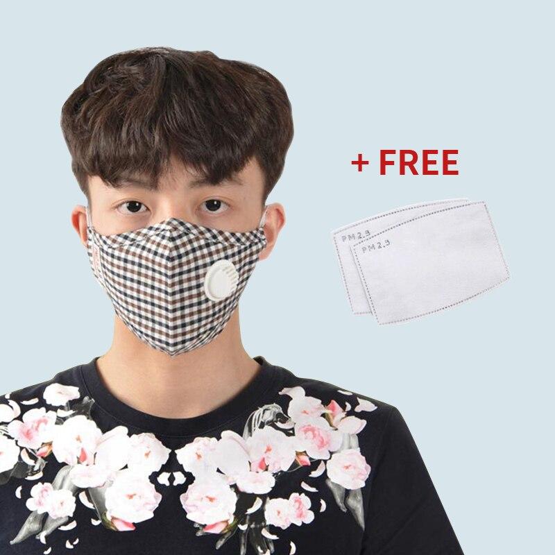 1pcs Cotton Masks Anti Pollution PM2.5 Mask Dust Reusable Mouth Mask With Filter Cloth Face Mask Cotton Washable  Mask 7Colors
