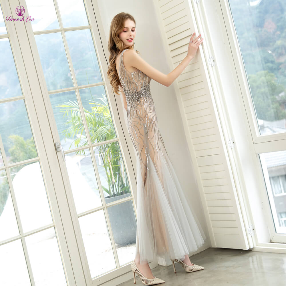 DressbLee Elegant Mermaid Evening Dresses Full Crystal Pearl Beaded Long Evening Dress Lace Embroidery Party Gowns Vestidos