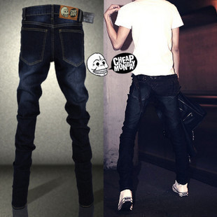 2019 New Style Fashion Man Jeans Men's Black And Blue Grinding White Water Washing Slim Fit Slimming Skinny Pencil Pants