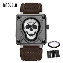 BAOGELA crâne relojes modo lumineux pirata crâne montre à cuarzo étanche montre pulsera reloj Masculino 1701
