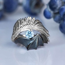 Vintage Devil Wing Blue Crystal Rings Personality Gothic Style Punk Cool Women's Ring Cocktail Anniversary Gift Jewelry