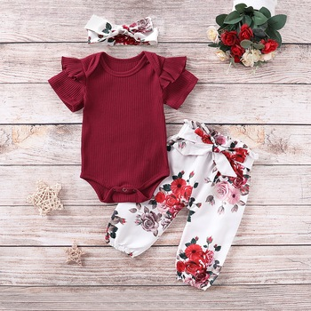 Floral Baby Girls Outfits Red Set Summer Short Sleeve Kids Clothing For Girls Cotton Infant Suit For Newborn with Headband D30 zofz newborn baby clothing cotton baby girls short sleeve set three piece princess dress set with bow hair band and underpants