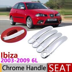 for Seat Ibiza MK3 6L 2003~2009 Chrome Exterior Door Handle Cover Car Accessories Stickers Trim Set 2004 2005 2006 2007 2008