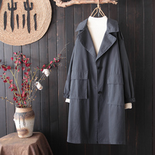 Large Size Loose Black Trench Woman Long Coat Woman Trench Coat Autumn Spring Sobretodo Mujer Verano Japanese Trench Coat HH50FY cheap yucheng Full Oxford Casual COTTON Polyester Pockets Pleated vintage Solid women s fashion trench coat autumn Turn-down Collar