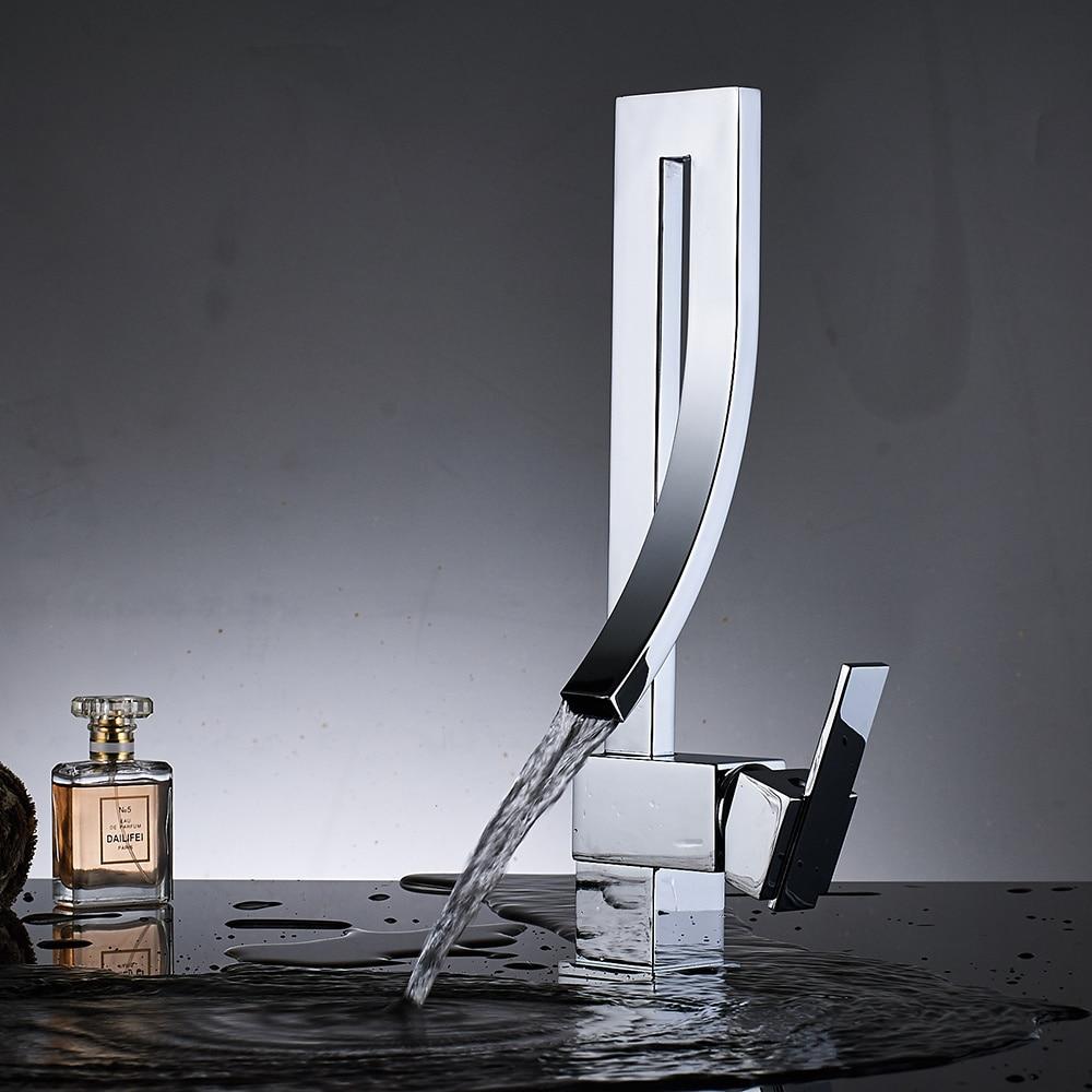 Chrome Brass Basin Faucet Fashion Style Single Handle Waterfall Basin Mixer Tap Hot Cold Bathroom Faucets Innrech Market.com