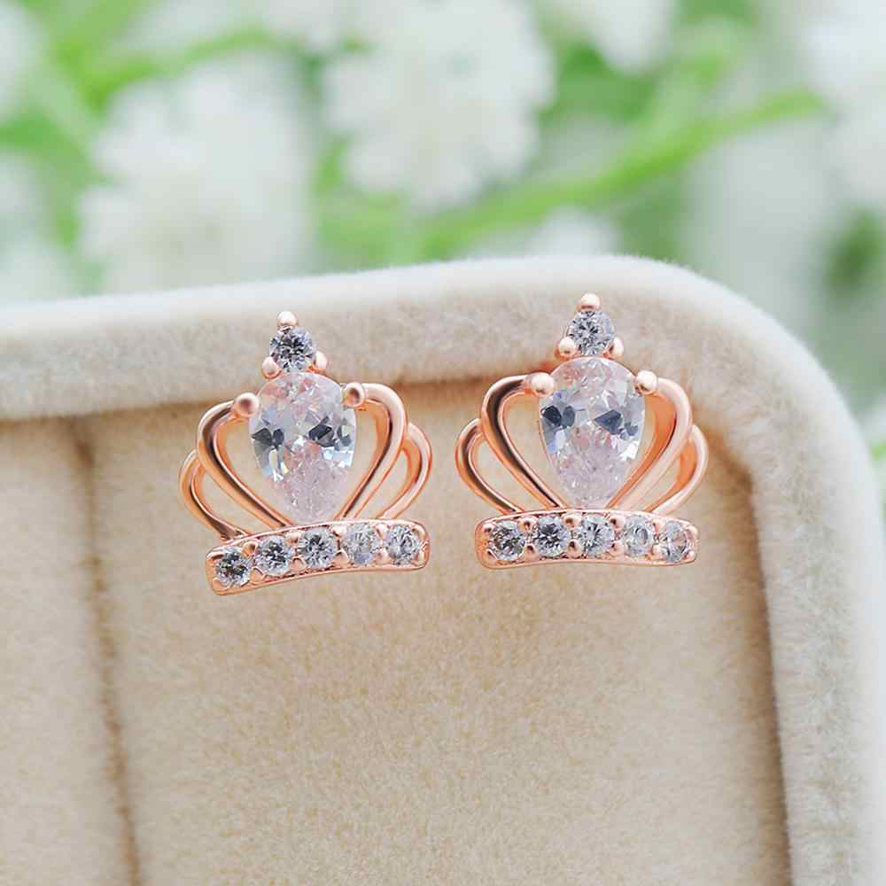 Boho נקבה קטן כתר Stud עגילי 2019 חדש קריסטל חתונת עגילי אופנה כסף עלה זהב כפול עגילים לנשים