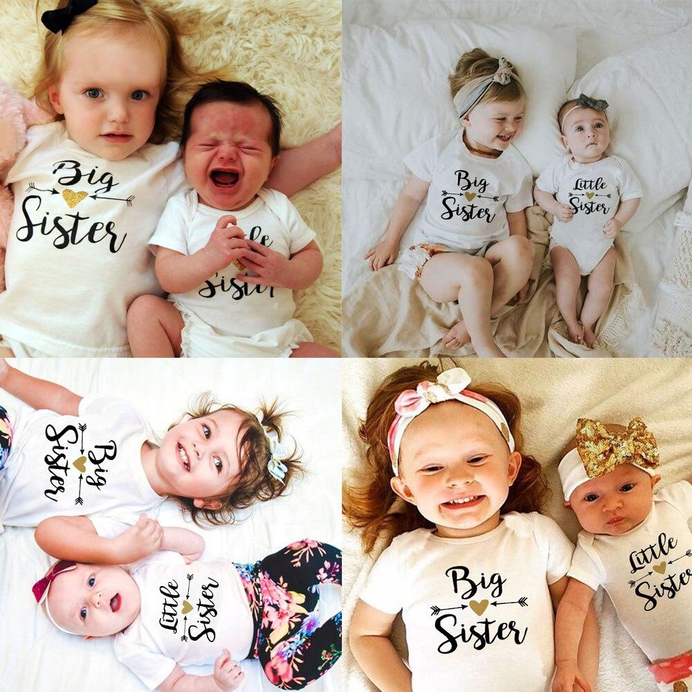Große Schwester Hemd Mädchen Kleinkind T-shirt Wenig Brother Hemd Kleine Schwester Outfit Kinder T-shirt Baby Strampler Familie Aussehen