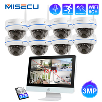 MISECU 8CH CCTV Security Camera System Wireless 3MP IP Dome Camera Audio WIFI NVR Kit 12 LCD Monitor Security Surveillance Set