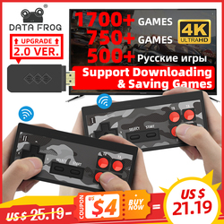 Data Frog USB Wireless Handheld TV Video Game Console Build In 1700 Classic Game 4K 8 Bit Mini Video Console Support HD Output