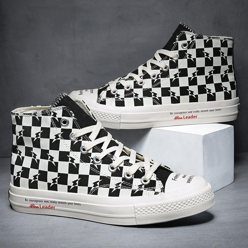Men Shoes Black White Check Canvas High Top Sneakers Zapatillas Hombre Casual Vulcanized Shoes
