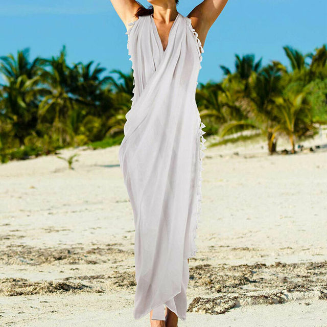 Beach Wear Cover Up Swimsuit Wrap Skirt Sarong Women Swimwear Bikini Ladies Summer Solid Cover Up Clothes 4