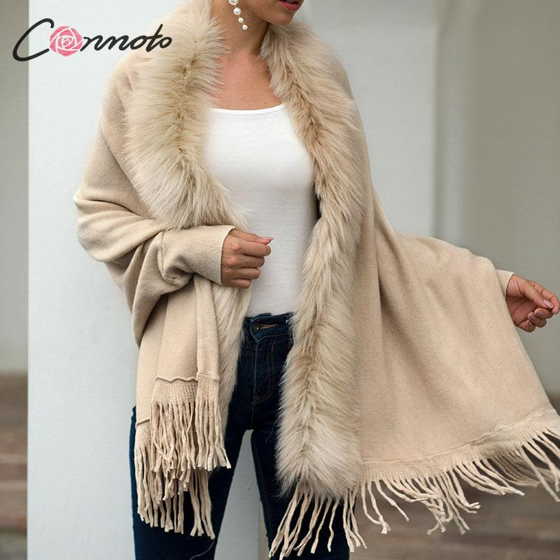 Conmoto Women Fashion Faux Fur Knit Cardigan Cape Coat 2019 Autumn Winter Loose Bat Sleeve Knit Jacket Tassel Casual Outwear